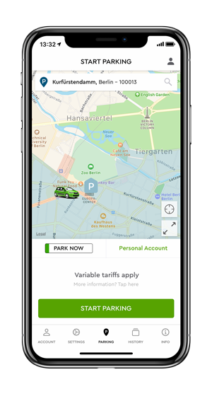iPhone X showing the PARK NOW start parking screen